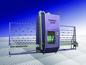 TEMPEST آلة الرش الرملي العامودية لرش الواح الزجاج المسطحة